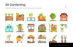 30枚农业&园艺扁平设计风格矢量图标 30 Farming and Gardening Icons – Flat