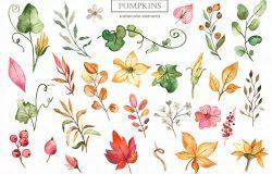 秋季南瓜元素水彩剪贴画&图案素材