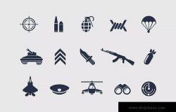 12枚军事主题矢量图标 12 Military Icons ZZH / 2020.1.16 图标  6  0  0