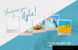 照片墙设计预览样机模板 Mini Mood Board: Polaroid Line Up