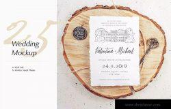 优雅风格婚礼照片&婚礼邀请函设计样机模板