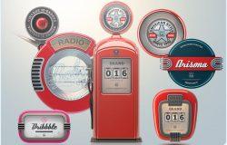 复古3D机械徽章Logo模板 3D Retro badges