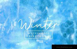 冬天水彩肌理纹理背景素材v2 Winter Watercolor Backgrounds