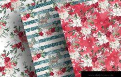 圣诞节主题雪球水彩手绘图案数码纸张设计素材 Christmas Snowball digital paper pack