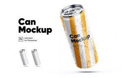 倾斜状易拉罐饮料瓶外包装设计预览模板