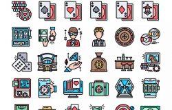 30枚赌场博彩主题矢量图标 30 Gambling Icons