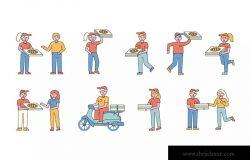 披萨送餐员人物形象线条艺术矢量插画素材 Pizza delivery Lineart People Character Collection