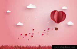 纸艺术风格浪漫情人节爱心热气球草地天空插图背景矢量设计素材Valentine