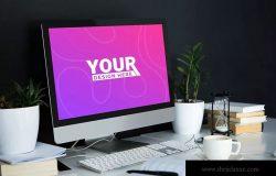 桌面办公场景一体机电脑样机模板 Desktop Mockup