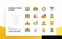 家庭生活主题填充彩色图标素材 HOME LIVING FILLED COLOR