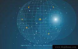 多边形网状球体点线连接互联网科技矢量背景设计素材