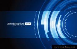一组蓝色科技感光效抽象回溯技术圈矢量背景设计素材