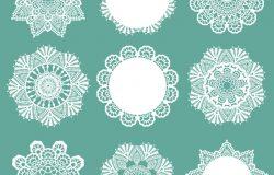 蕾丝花边雪花手工剪纸艺术图案背景矢量设计素材