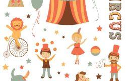 可爱卡通手绘帐篷马戏团矢量插图设计素材