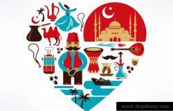 卡通土耳其传统特色元素心形矢量图标插图设计素材