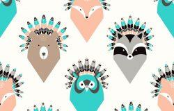 可爱手绘卡通动物羽毛头像图案背景矢量设计素材