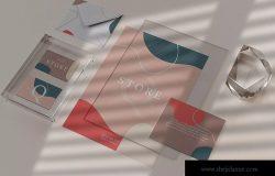玻璃封装效果企业品牌VI设计展示样机模板