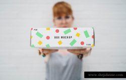 外卖食品盒子包装贴图展示模版 Box PSD Mockup
