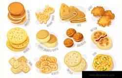 美味的薄煎饼美食矢量设计素材 Delicious Pancakes