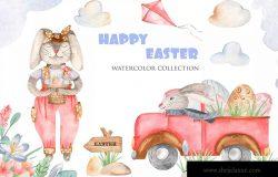 复活节设计水彩卡通兔子剪贴画