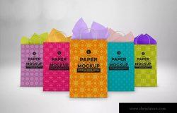 购物纸袋设计图片预览样机模板 Paper Bags Twine Handles Packaging Mockup