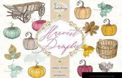 丰收季节秋天农场手绘图案PNG素材 Harvest Pumpkin design