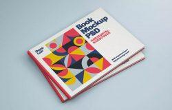 横版图书封面设计图叠放视图样机v1 Horizontal Book Cover Mockup