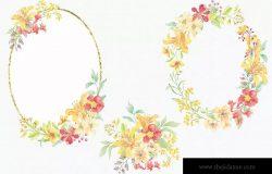 阳光明媚风格水彩花卉手绘图案剪贴画PNG素材 Sunny Flowers: Watercolor Clip Art Mini Bundle