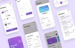 电子银行钱包APP应用UI设计套件 Banking Wallet iOS App UI PSD & Figma