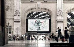 火车站/高铁站候车大厅巨幅海报设计图样机模板 Train Station Poster Mock-up