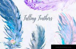 水彩羽毛元素剪贴画套装 Watercolor Falling Feathers, Feather Clip Art
