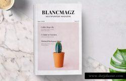 时尚高端多用途的杂志画册设计模板 Blanc Magazine