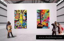 展览馆绘画作品艺术品展示样机