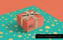华丽设计蝴蝶结礼品盒样机 Gift Box Mockups
