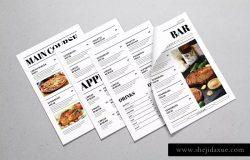 新闻报纸版式设计菜单设计模板 Newspaper Style Food Menus