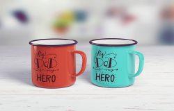 经典搪瓷杯子锡杯样机 Enamel Mug Tin Cup MockUp
