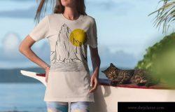 度假系列-热带风情风格服装胸前印花设计展示样机