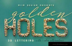 腐蚀残旧金色3D金属字体英文字母PNG素材