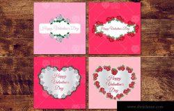情人节主题风格玫瑰花装饰贺卡设计素材 Valentine's Flowers Frames ZZH / 2020.1.30 贺卡卡片  7  2  0