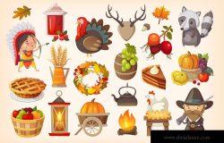 感恩节主题元素拟物矢量图标 Thanksgiving Day Icons