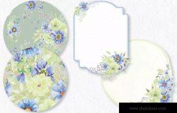 忧郁蓝水彩手绘花卉设计素材