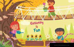 儿童乐园主题矢量插画素材 Gardening is Fun – Vector Illustration