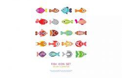 鱼类矢量图标合集 Fish vector icon set