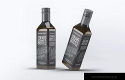 方形玻璃瓶设计样机模板 Square Glass Bottle Mock-Up