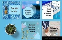 自媒体品牌宣传设计物料素材包 Blue Passion Social Media Kit