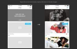 iOS 应用设计线框图素材包 Bones IOS Wireframe Kit [PS,AI,Sketch]