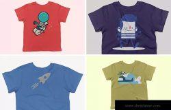 儿童短袖T恤图案印花设计展示样机 Toddler's Short-Sleeve Mockup Pack