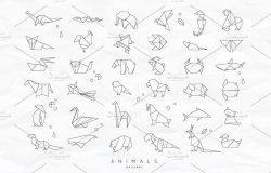 一套折纸风格动物图标集 Animals Origami #1335674