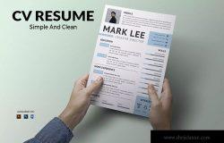 简单干净布局个人CV电子简历模板
