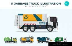 5个垃圾回收运输车矢量图形插画素材